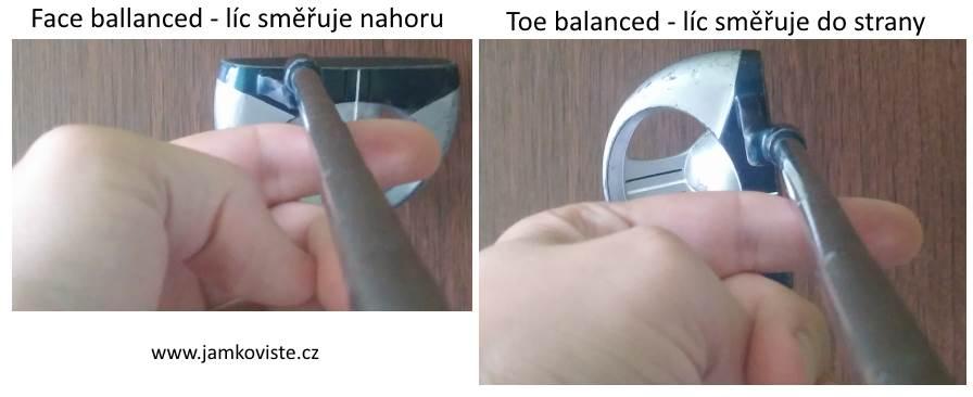 Vyvážení putterů - face/toe ballanced